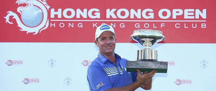 Scott Hend with his Hong Kong Open spoils