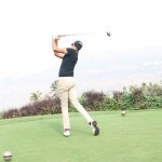 Abhishek Jha teeing off at Nirmayan Charity Pro Am