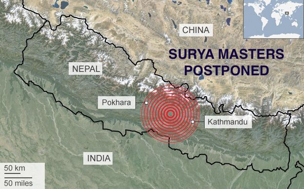 Nepal Earthquake: Surya Masters Postponed