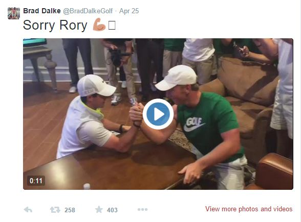 Rory McIlroy was taken down by Brad Dalke in an arm wrestling bout