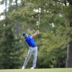 Masters champion Jordan Spieth plays his stroke on the No. 14 during Round 2 at Augusta National Golf Club on Friday April 8, 2016.