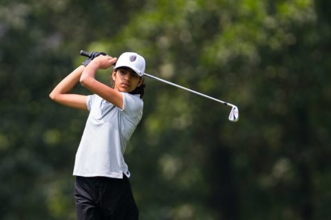 Diksha Dagar of India in action during day two of the 10th Faldo Series Asia Grand Final at Faldo course on 03 March of 2016 in Shenzhen, China.