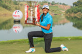 13/11/2016 Ladies European Tour 2016: HERO Women's Indian Open, DLF Country Club, New Delhi, India. 11-13 November. Aditi Ashok of India with her trophy. Credit: Tristan Jones