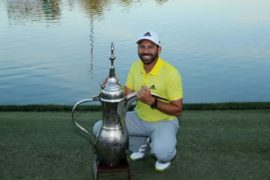 Sergio Garcia of Spain after his victory at the 2017 Omega Dubai Desert Classic