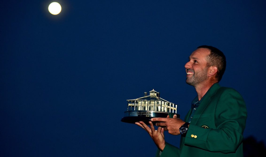 Sergio Garcia with the Masters trophy and the treasured Green Jacket