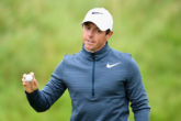 SOUTHPORT, ENGLAND - JULY 21: Rory McIlroy of Northern Ireland acknowledges the crowd on the 6th hole during the second round of the 146th Open Championship at Royal Birkdale on July 21, 2017 in Southport, England. (Photo by Warren Little/R&A/R&A via Getty Images)