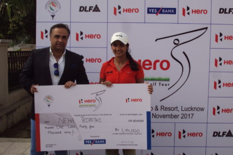 Neha Tripathi winner of 15th leg with Sheeraz Kalra of Palms Golf Club and Resort, Lucknow