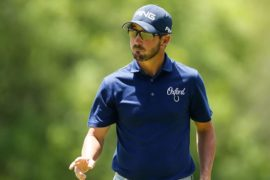Andrew Landry reacts after a putt on the fifth green during the final round of the Valero Texas Open