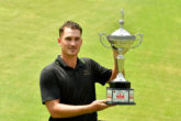 DHAKA-BANGLADESH – Malcolm Kokocinski of Sweden pictured with the winner's trophy on Saturday May 12, 2018 during round four of the AB Bank Bangladesh Open at the Kurmitola Golf Club, Dhaka, Bangladesh. The USD$ 300.000 Asian Tour event is staged May 9-12, 2018. Picture by Paul Lakatos/Asian Tour.