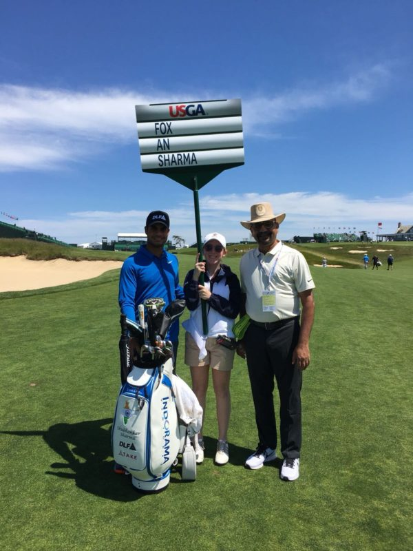 Shubhankar Sharma with his father Mohan Sharma at the US Open