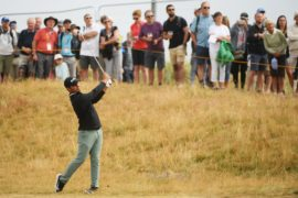 CARNOUSTIE, SCOTLAND - JULY 21: Shubhankar Sharma of India plays his second shot on the 2nd hole during round three of the Open Championship at Carnoustie Golf Club on July 21, 2018 in Carnoustie, Scotland.  (Photo by Matthew Lewis/R&A/R&A via Getty Images)