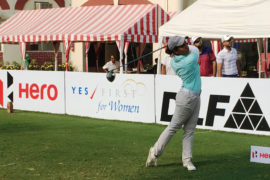 Afshan Fatima shares second round lead with Neha Tripathi in the 18th leg of the season.